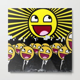 Awesome Smiley Faces Yellow Emoticon                                      Metal Print