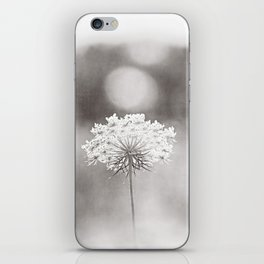 """Black and White Nature Photography, Queen Anne's Lace Grey Photo, Floral Print, """"Dreamy"""" iPhone Skin"""