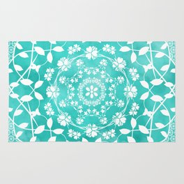 Hearts & Flowers Teal Green Blue Floral Mandala Design Rug