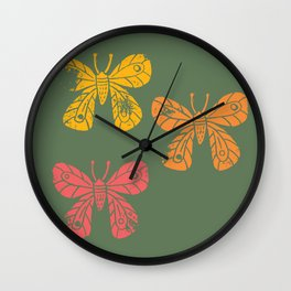 Inked Butterflies Wall Clock