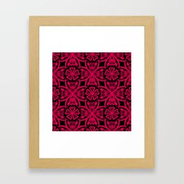 Red Lace on black . Framed Art Print