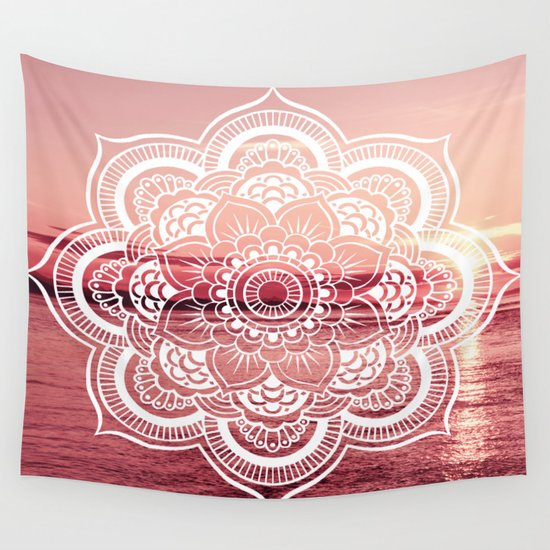 Pink Wall Tapestry mandala water : rose pink wall tapestrywhimsy romance & fun