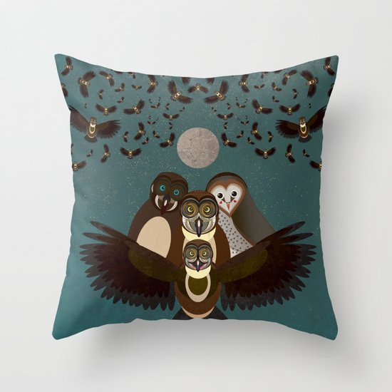 Owls in the Sky Throw Pillow