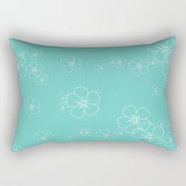 White Floral Flowers Outline with Teal Background  Rectangular Pillow