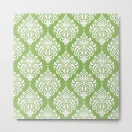 Green Damask Metal Print