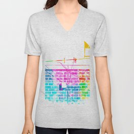 brick building with colorful painting abstract in pink blue yellow green red Unisex V-Neck