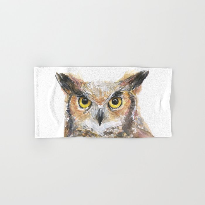 Great Horned Owl Watercolor Hand & Bath Towel