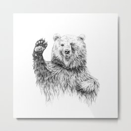 Waving Bear Metal Print