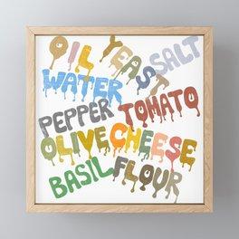 Margarita Pizza Recipe Food Lettering Framed Mini Art Print