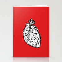 anatomical heart Stationery Cards featuring Anatomical Heart by Horse and Hare
