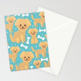 pattern funny golden beige dog and white bones, Kawaii face with large eyes and pink cheeks Stationery Cards
