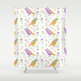 Gouache Pastel Birds with Flowers and Botanicals Shower Curtain