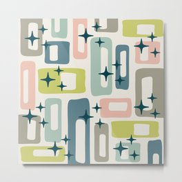 Retro Mid Century Modern Abstract Pattern 236 Metal Print