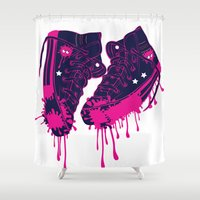 sneakers Shower Curtains featuring Love my dirty sneakers by Cindys