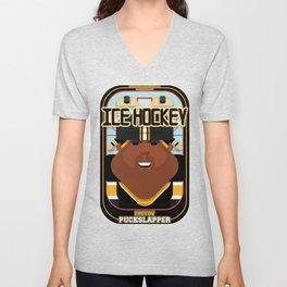 Ice Hockey Black and Yellow - Faceov Puckslapper - Hayes version Unisex V-Neck
