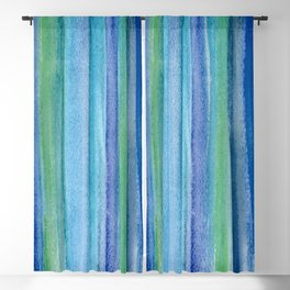 Blue and Green Watercolor Stripes - Underwater Reeds / Abstract Blackout Curtain