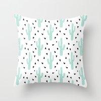 coachella Throw Pillows featuring Cactus - modern minimal pattern print triangles geometric trendy hipster coachella festival  by CharlotteWinter