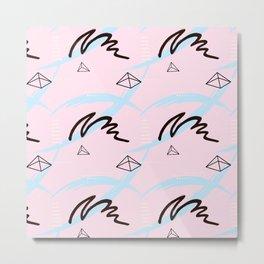Brush pink blue pattern Metal Print