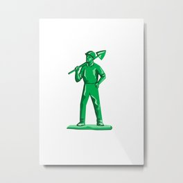 Green Miner Holding Shovel Retro Metal Print