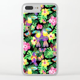Tropical Toucans in Watercolor Black Clear iPhone Case