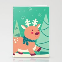 reindeer Stationery Cards featuring Reindeer by Claire Lordon