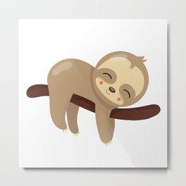 Napping Sloth Metal Print