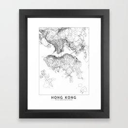 Hong Kong White Map Framed Art Print