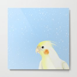 BIRD IN THE SNOW Metal Print