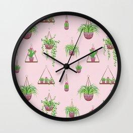 Mother, Macramé I? - Hanging Plants on Pink Wall Clock