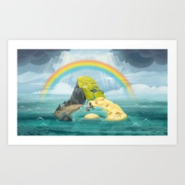 Puffin Rock, Rainbow Art Print