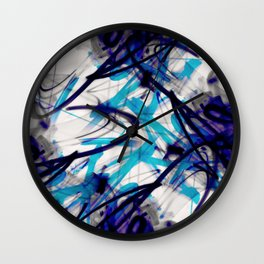 All Over Abstract Pollock Style Aqua and Blue Wall Clock