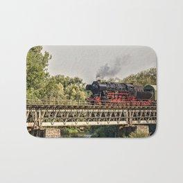 steam train on a bridge Bath Mat