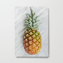 Pineapple on Marble Metal Print