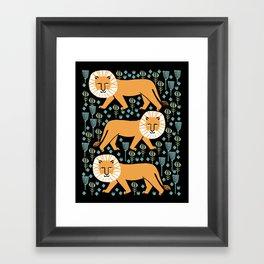 Lion safari printmaking screen print art minimal kids art by andrea lauren Framed Art Print