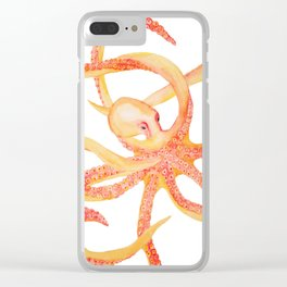 Orange Octopus Watercolor Clear iPhone Case