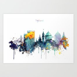 Oakland California Blue  skyline print Art Print