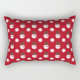 Snowman Snowflakes pattern Christmas decorations retro colors dark red background Rectangular Pillow