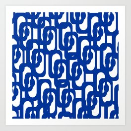 Bright Blue and White Mid-century Modern Loop Pattern  Art Print