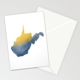 West Virginia State Map Watercolor Art 2 Gifts Stationery Cards