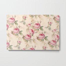 English rose,vintage roses floral pattern  Metal Print