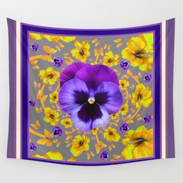 PUCE PANSIES YELLOW BUTTERFLIES & FLOWERS Wall Tapestry