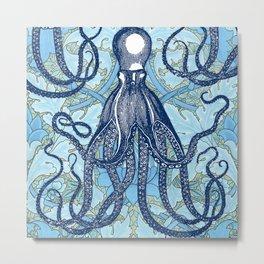 Antique Octopus on William Morris Floral Metal Print