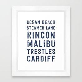 California Surf Spots 1 Framed Art Print