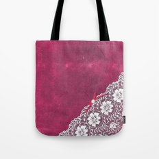 Claire´s treasure - White beautiful lace and pearl on pink grunge backround Tote Bag