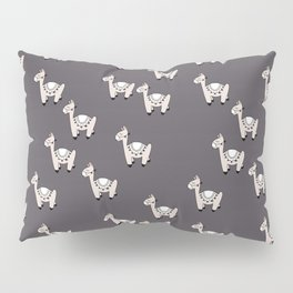 Cute little baby Llama alpaca illustration pattern neutral nursery gray Pillow Sham