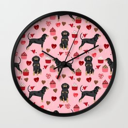 Coonhound love cupcakes hearts valentines day cute dog breed gifts for coonhounds Wall Clock