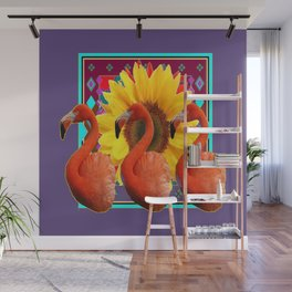 THREE SAFFRON FLAMINGOS YELLOW FLOWER PURPLE ART DECO Wall Mural