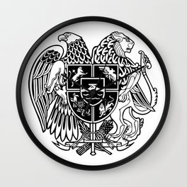 ARMENIAN COAT OF ARMS - Black Wall Clock