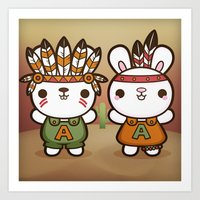 Abe and Abby the Rioters Bunnies Art Print