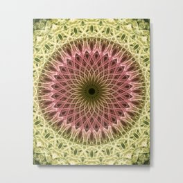 Detailed mandala in gold and red ones Metal Print